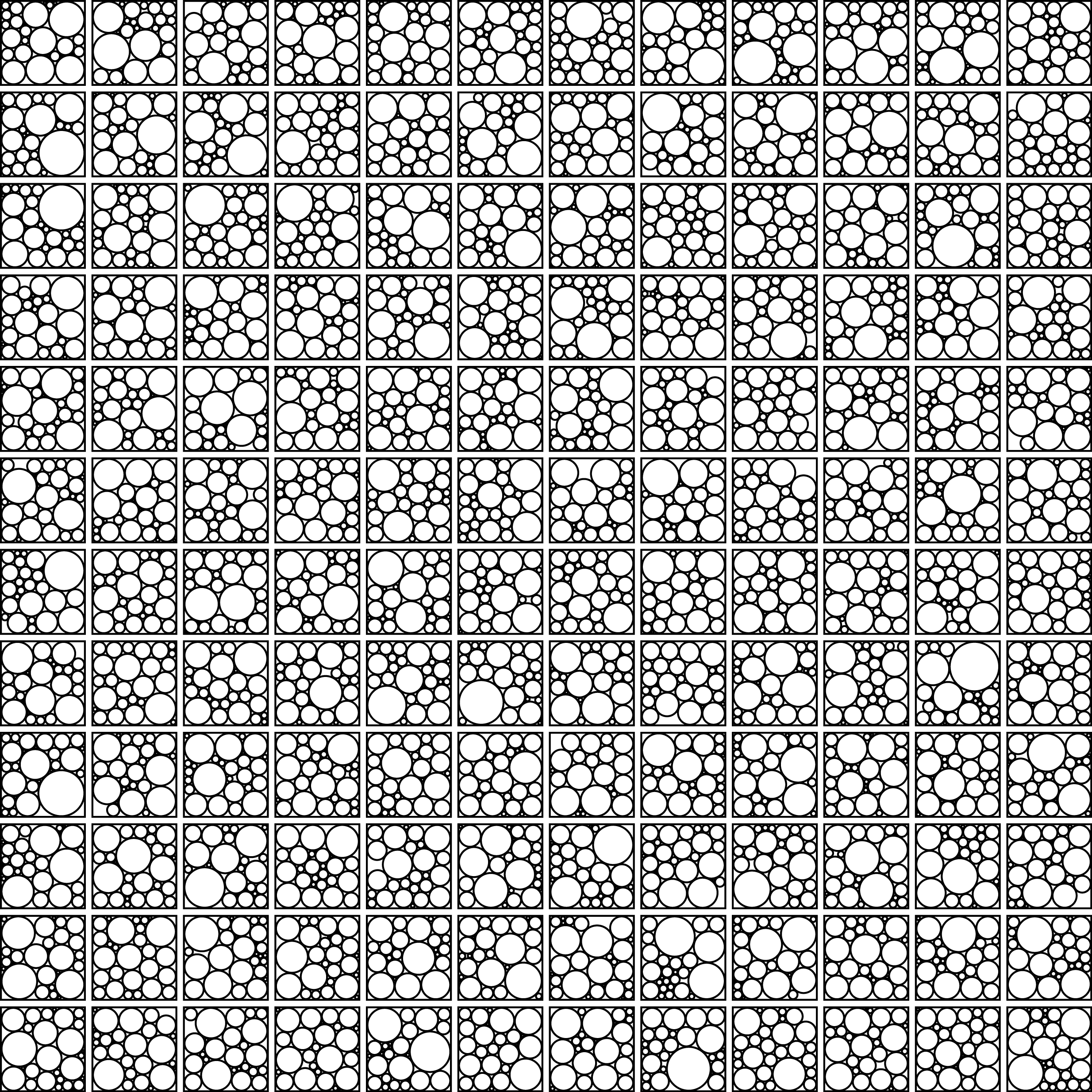 144 sets of 27 circles packed into squares